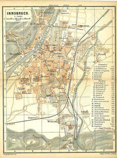 1896 Innsbruck Original Vintage City Map Tyrol by CarambasVintage