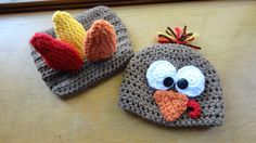 Turkey Hat and Diaper Cover via Etsy Crochet Ideas, Crochet Projects, Crochet Patterns, Newborn Photo Outfits, Newborn Photos, Chicken Hats, Turkey Hat, Infant Hat, Diaper Covers