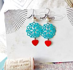 Cinnamon Hearts. Teal Filigree Earrings with Sweet Red Heart Charms, Pearls, Pinup Girl, Flirty, Rockabilly, Handpainted, Gypsy Girl, Lolita by FabFleaMarket on Etsy