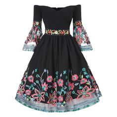 Flare Sleeve Off Shoulder Embroidery Dress - Black - 3G84324313 Size M