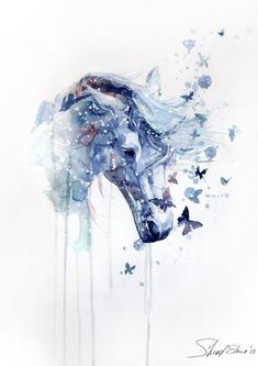 Watercolor horse painting with butterflies