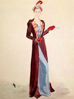 Schiaparelli - Manteau Maxi - Velours et Perles - Harper's Bazaar - Croquis - 1936