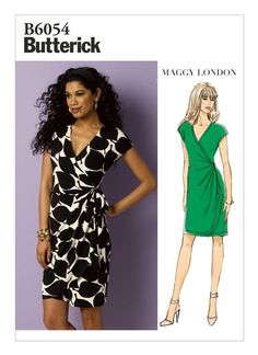 B6054 | Misses' Pleated Wrap Dress Sewing Pattern | Butterick Patterns