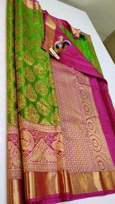 Saree Designs Party Wear, Wedding Saree Blouse Designs, Half Saree Designs, Silk Saree Blouse Designs, Saree Blouse Patterns, South Indian Silk Saree, South Silk Sarees, Indian Bridal Sarees, Wedding Silk Saree