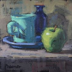 cathleen rehfeld • Daily Painting: Blues with Apple - sold