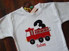 Fire Truck Birthday Shirt, Firetruck Birthday Shirt, Boys Birthday Shirt, Firetruck Birthday. $24.00, via Etsy.