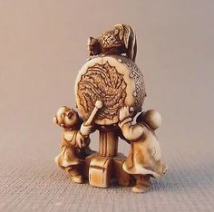 Very Fine Meiji Netsuke of Karako ,Drum and a Cockerel