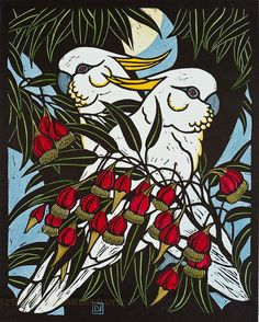 Leslie van der Sluys - Sulphur Crested Cockatoo and Fuschia Gum 1981 Australian Native Flowers, Australian Birds, Australian Plants, Australian Artists, Linocut Prints, Art Prints, Block Prints, Art Pictures, Photos