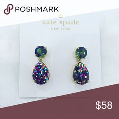 Kate Spade Glitter Drop Earrings Authentic Kate Spade earrings with color change crystals on top (green/purple/blue) and multi color glitter dangle.    Don't forget to shop my closet for a bundle discount!Yay!   Suggested User! 5 Star Rated Seller!  Same or next day shipper! No trades kate spade Jewelry Earrings