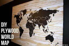 DIY Plywood Vinyl world map.  Part of a rustic industrial bedroom makeover from East Coast Creative blog.