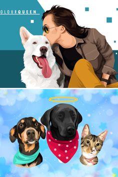 Caricature, Dog Cat, Disney Characters, Fictional Characters, Custom Design, Best Friends, Cartoon, Portrait, Disney Princess