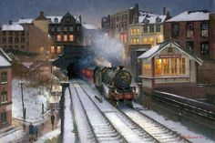Railway & Landscape Paintings by Rob Rowland GRA Dark Paintings, Landscape Paintings, Steam Trains Uk, Train Drawing, Nostalgic Art, Landscaping Near Me, Steam Railway, Train Art, Railway Posters