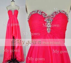 Strapless Crystal Prom Dress,High low dress,Prom Dress,Wedding Dress, Evening Gown, Formal Dress,Prom Dress,Wedding Dress,Bride Dress,formal dress