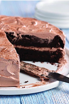 Chocolate-Zucchini Cake – You'd never guess there's a bunch of shredded zucchini in this super-moist double-chocolate cake recipe made with cake mix and chocolate pudding. It's a must in your dessert spread!