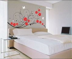 Paint design ideas for home new home designs latest home interior wall paint designs ideas . paint design ideas for home bedroom wall Bedroom Stickers, Wall Decals For Bedroom, Bedroom Decor, Wall Stickers, Bedroom Ideas, Bedroom Furniture, Bedroom Retreat, Black Furniture, Custom Stickers