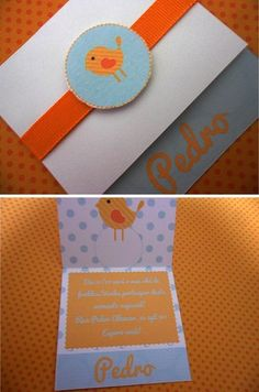 Convite Chá de bebê passarinho Baby Shower, Make Me Smile, Paper Crafts, Scrapbook, Invitations, Graphic Design, Birthday, Creative, How To Make