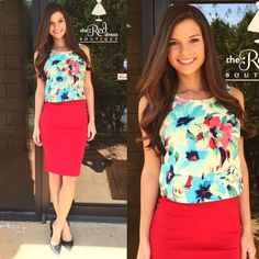NWOT Floral Crop Top NWOT Floral Crop Top - Dress this piece up as shown or wear it more casual. This versatile piece is a go to for summer. Love this look? Check out my closet, this daring red pencil skirt is also available! Tops Crop Tops