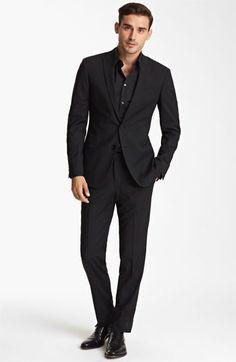 All black, love it. - Dolce Stripe Suit & Dress Shirt #Nordstrom