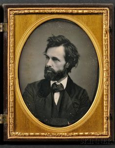Half Plate Daguerreotype Portrait of a Bearded Young Man