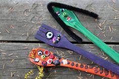 Green Owl Art: Wooden Spoon Monsters