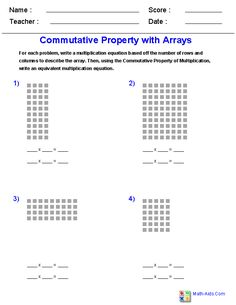 Commutative Property of Multiplication with Arrays Worksheets