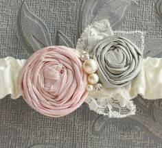 Penelope Garter SET in Ivory with Pink and Gray by lolainlace, $44.50