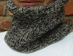 Black and Tan Textured Cowl Hand Knit Unisex by BonArtsStudio