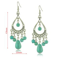 US $1.74 / Pair # Yumfeel [US $1.64 # classic vintage http://www.aliexpress.com/store/product/2015-Special-Women-s-Long-Pendant-Drop-Earrings-Bohemian-Turquoise-Ball-Tibetan-Water-Drop-Shape-Dangle/1291688_32429311366.html]