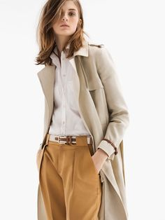 Massimo Dutti - love these pants - fun color - with classic crisp white shirt and khaki trench coat - neutral office chic.