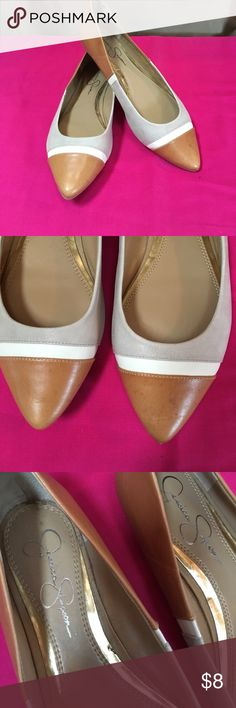 Jessica Simpson shoes. Tan, gray, and cream flats. Worn only a few times. Very good condition. Jessica Simpson brand. Size 7 1/2 B. On the narrow side. Jessica Simpson Shoes Flats & Loafers