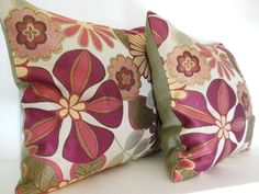 16 x 16 Pillow Covers in Rusty Rose Color Floral Fabric Set of 2