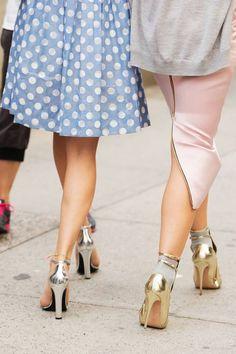 Light Blue & White Polka Dot Pleated Skirt, Silver Metallic Heels, Grey Cardigan, Pale Pink Pencil Skirt with Zipper Kickpleat, Gold Heels with Ankle Socks // besties