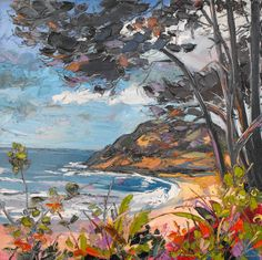 Caswell Bay, Gower Peninsula by Judith I Bridgland Seascape Paintings, Landscape Paintings, Art Pictures, Art Images, Acrylic Painting Canvas, Canvas Art, Types Of Visual Arts, Watercolor Paintings For Beginners, Impressionism Art