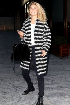 ✶ Monochrome separates are the pieces to fill your wardrobe with come winter. Take model Gigi Hadid's latest street style look, for example. The quilted black and white coat, combined with a fresh white tee and inky separates is a sublime off-duty chic get-up for a night out with friends. ✶