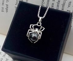 Dainty Sterling Silver Spider Necklace with Black Pearl