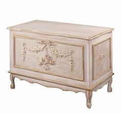French Toy Chest in Versailles with Appliqued Molding and Caning
