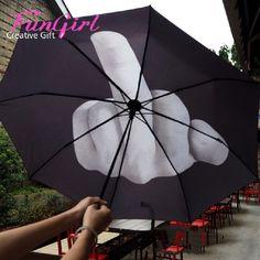 Darmowa Wysyłka Fajne Środkowy Palec Parasol Parasol Deszcz Kobiety mężczyźni Wiatroszczelna Parasol JAKO Prezenty Składane Parasole guarda chuva