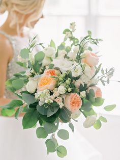Elegant white and peach wedding bouquet - Charming Southern Rustic Wedding from Amy Arrington Photography #photography