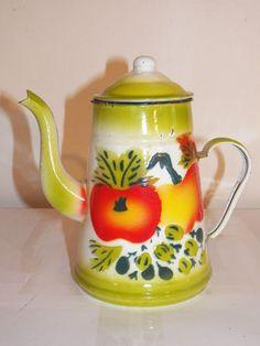 "Antique Vintage Painted Fruit Enamelware Teapot Coffee Pot 8"" Graniteware | eBay"