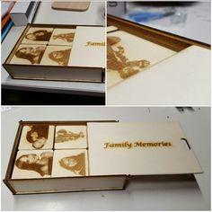 Holzmemorie, aus Sperrholz gelasert  mit gravierten Familienfotos.