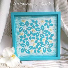 Turquoise Painting  White Blue Artwork  Picture by ElviraNelStudio