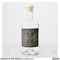 SEASON OF THE WITCH LIQUOR BOTTLE LABEL Liquor Bottles, Vodka Bottle, Season Of The Witch, Bottle Design, Bottle Labels, Distillery, Seasons, Digital, Seasons Of The Year
