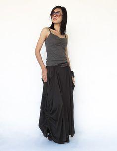 belt loops, pockets, drawstrings for convertible Charcoal Cotton Jersey Mega Pocket Maxi Skirt Long Maxi Skirts, Deep Teal, Hemline, Charcoal, Patches, Formal Dresses, Birthday Money, Belt, Model