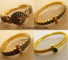 Indian Jewellery Designs - Latest Indian Jewellery Designs 2020 ~ 22 Carat Gold Jewellery one gram gold Emerald Bracelet, Emerald Jewelry, Rose Gold Jewelry, Gold Jewellery, Jewelery, Diamond Bangle, Latest Jewellery, Diamond Studs, Pearl Necklace Designs