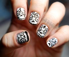 my version of calavera nails - So Cute! the black and white are both by Sinful Colors.