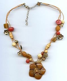 Cookie Lee Multi Strand Boho Plastic Carnelian Flower Pendant Bead Cord Necklace
