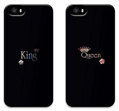 Two Pieces King and Queen Black Boyfriend and Girlfriend Couples Matching Cell Phone Cases for Iphone 5 5s Case - Christmas Gift:Amazon.co.uk:Electronics