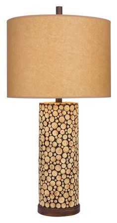 """Wood 31"""" H Table Lamp with Drum Shade"""