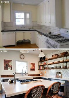 Your Pre-Weekend Dose of Serious Eye Candy: 10 Reader Before & After DIY Kitchens (Emily Henderson) Architecture Renovation, Home Renovation, Home Remodeling, Kitchen Renovations, Kitchen Remodelling, Before And After Diy, Kitchen Remodel Before And After, Beautiful Kitchens, Cool Kitchens