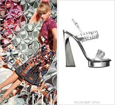Elle magazine | March 2013 Proenza Schouler Spring 2013 RTW Riveted mirror heel sandals finish Taylor's Proenza S2013 look. Worn with: Proenza Schouler dress Check out the rest of Taylor's Elle spread here.